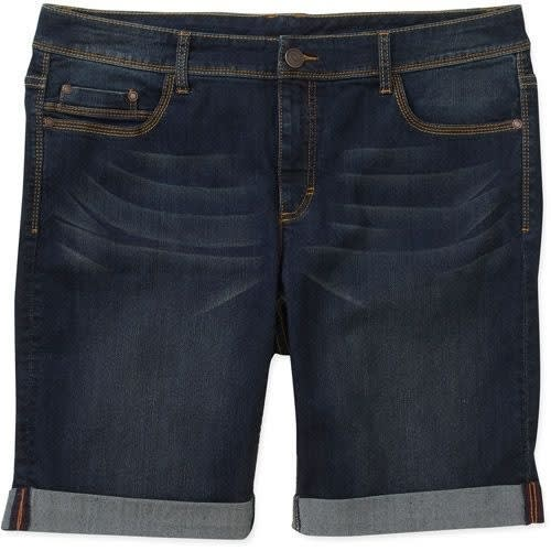 2304655b34 Faded Glory Women's Classic Cuffed Denim Bermuda Shorts - Blue ...