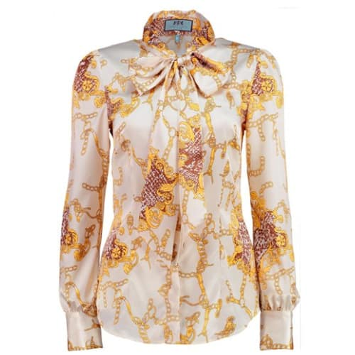 76a973c4df6d Hawes & Curtis Women's Cream & Gold Chains Print Fitted Satin Blouse ...