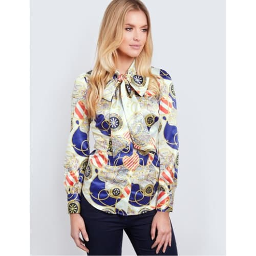 0f363f84587db Hawes   Curtis Women s Cream   Gold Ropes Print Fitted Satin Blouse ...