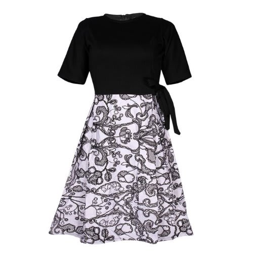 Women's Kiss-Pleated Tie Waist Vintage Dress - Black And White