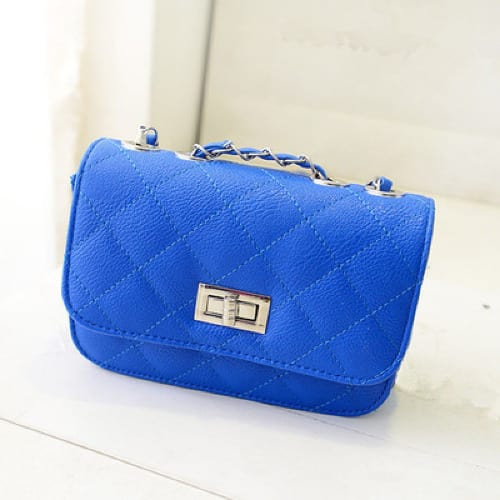 Women's Leather Mini Cross Body Chain Shoulder Purse - Blue