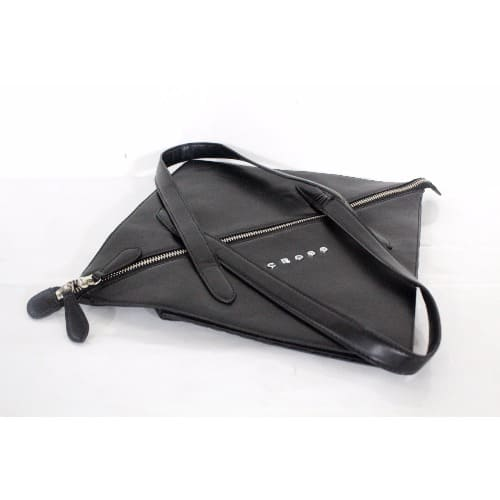 Womens Leather Origami Collapsible Hand Bag Black