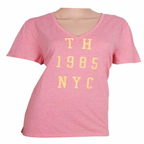 08a6c7eeea3c Tommy Hilfiger Women's Letter Print Short Sleeve V-Neck Shirt ...