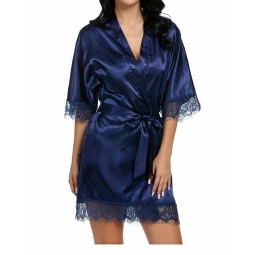 937c995bcb01 Women's Mini Robe with 3/4 Lace-Trimmed Kimono Sleeves - Blue ...