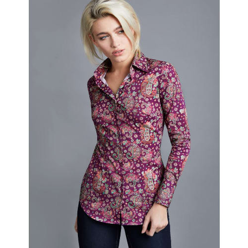 Women's Plum & Green Paisley Print Fitted Shirt - Single Cuff