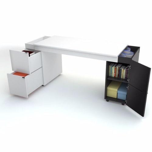 Wood Converting Desk - White & Black