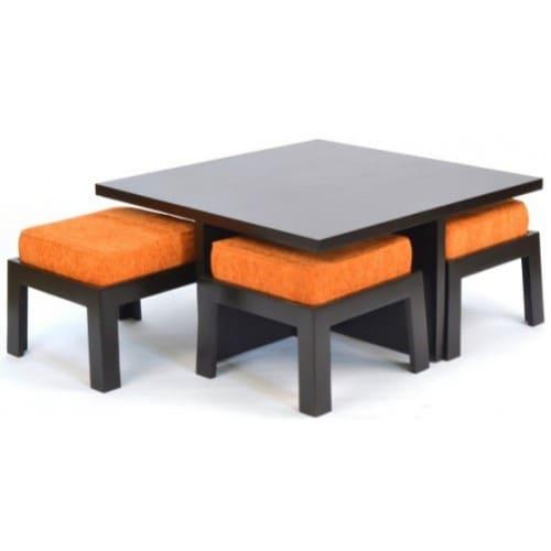 Sofa With Center Table: Wooden Center Table Or Coffee Table And 4 Stools