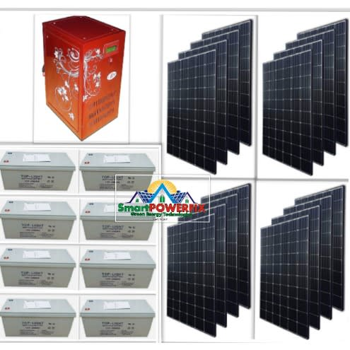 Solar Powered 5kva Inverter Installation With 8 Batteries And 16 Solar  Panels