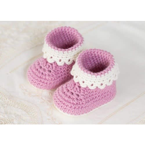 4cd1359dc8518 Pink Crochet Baby Booties