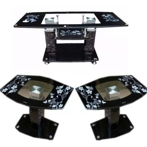 Buy Uni 3 Step Tempered Glass Center Table And 2 Glass