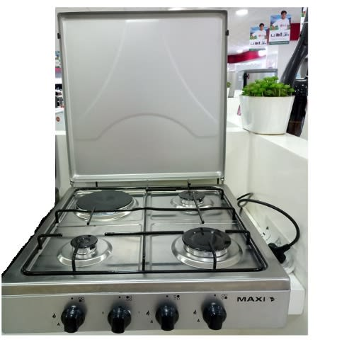 4 Burner (3 Gas + 1 Electric) Manual Ignition Table Top Cooker