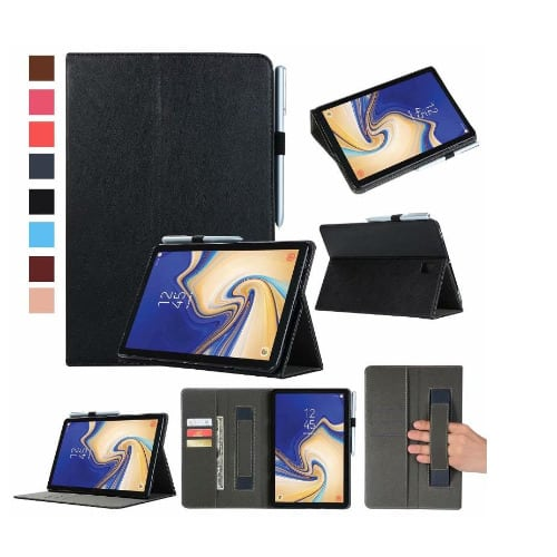 Pure Leather Case With Pen Holder For Samsung Galaxy Tab S4 - Black