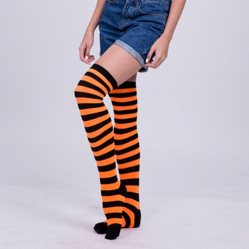721c7ada0bc64 She Orange And Black Striped Stripes Thigh High Over Knee Socks ...