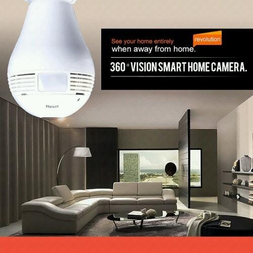 Wireless Ip Bulb Lamp Fisheye 360° Panoramic Surveillance Security