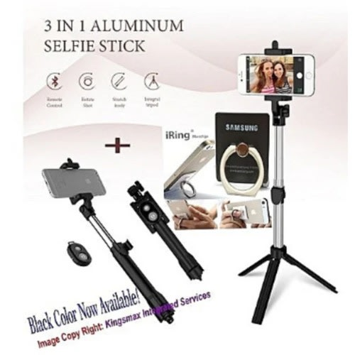 8a60b3d77aeece Bluetooth Remote Controller Hand-held Selfie Stick Tripod With Free Phone  Ring Holder.