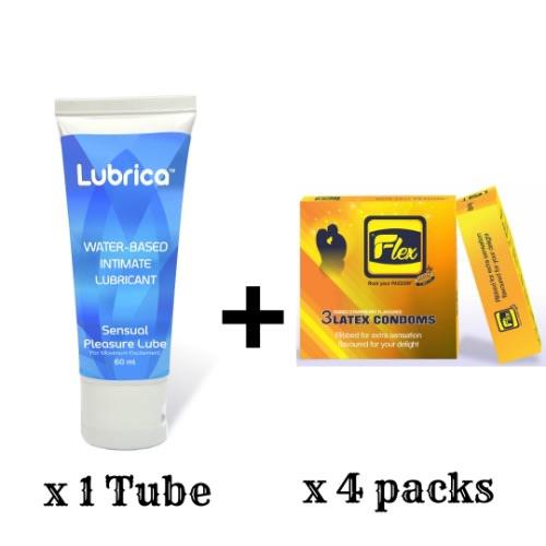 Flexing Kit - Flex Classic Condom & Lubrica Sensual Pleasure Lube.