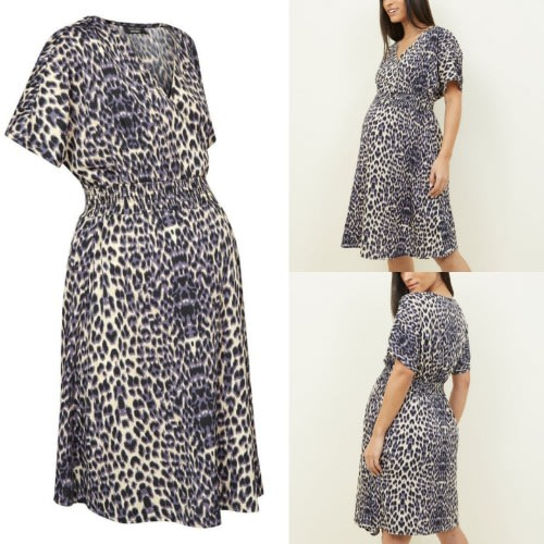 Brown Print Wrap Maternity Dress