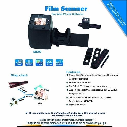 35mm Digital Negative Film and Slide Scanner With Color LCD Display