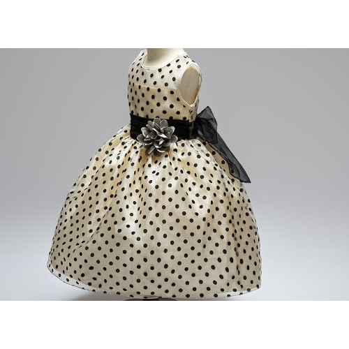 e873b8e4fc827 Baby Girls Satin Polka Dot Dress - Champagne