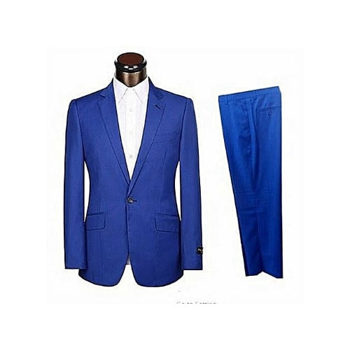 Men's Fitted Turkey Made Suit - Royal Blue