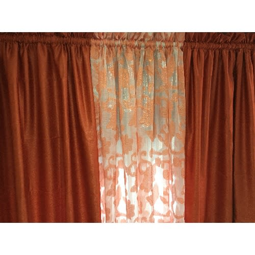 Alina Curtains With Sheer Day Blind, Sheer Orange Curtains