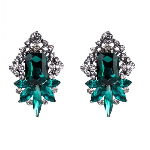 Diamond Geometric Earring - Green.