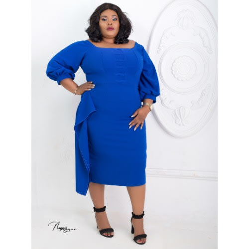 Lilian Plus Size Dress - Royal Blue