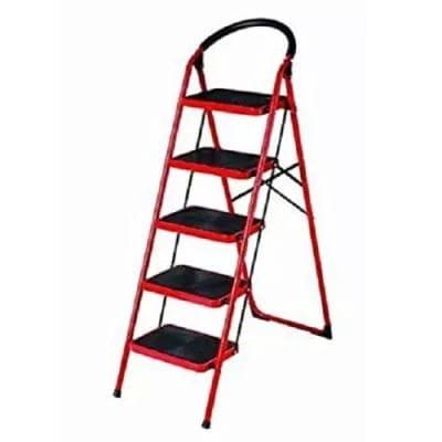 Pleasing Household Heavy Duty Iron Ladder Red Folding Ladder 5 Step Machost Co Dining Chair Design Ideas Machostcouk