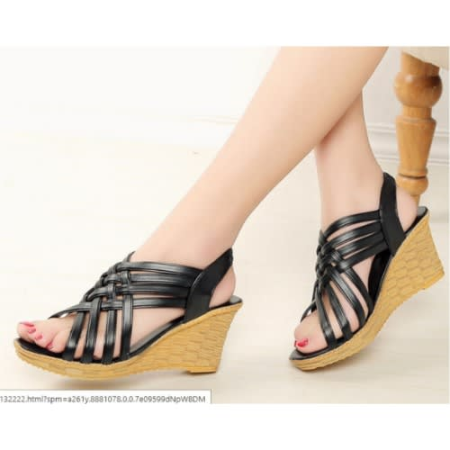 79660989d85d Fashion Bug Ladies Wedge Sandal - Bla.