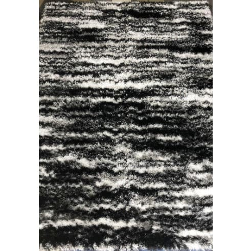 Executive Shaggy Rug - 5x7ft - Black Grey & White