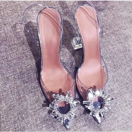 Ladies Transparent Hill Doted Sandals.