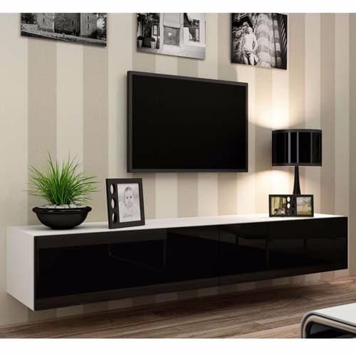 Astounding Wall Mount Tv Stand High Gloss White Black Door Download Free Architecture Designs Scobabritishbridgeorg