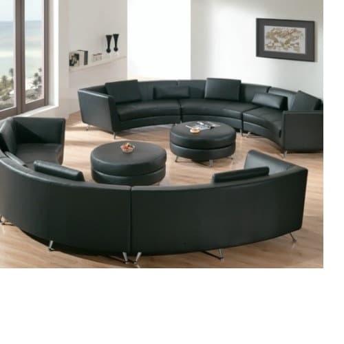 Living Room Leather Sofa Set Black 3 Piece 9 Seaters Konga
