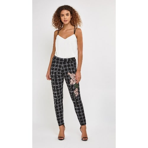 2afef0ae52a1df Rose Flower Side Printed Trousers - Multicolour