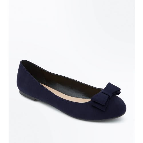 New Look Wide Fit Blue Suedette Bow