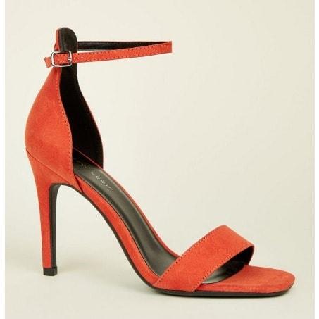 a1fb0be336b Orange Suedette Square Toe Two Part Sandals