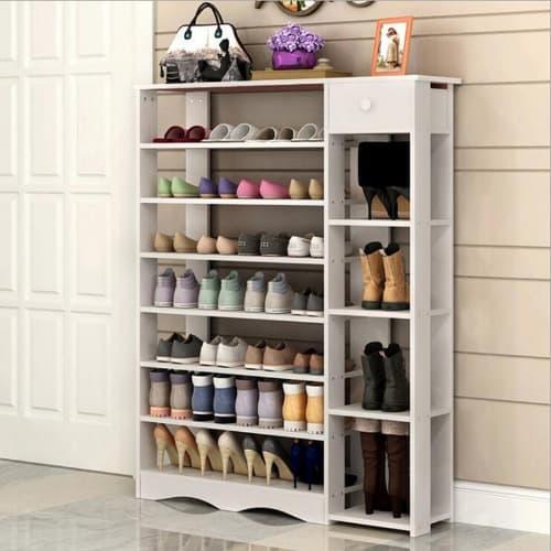 Classic Multi Storage Shoe Rack White, Shoe Storage White Cabinet