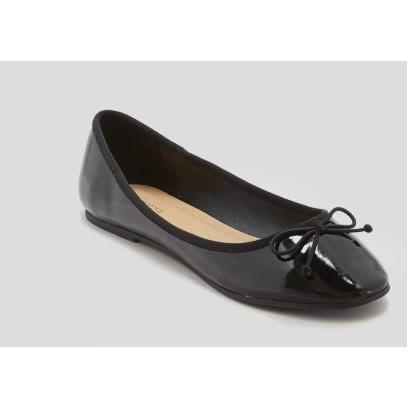 Matalan Black Patent Ballet Flat Shoe