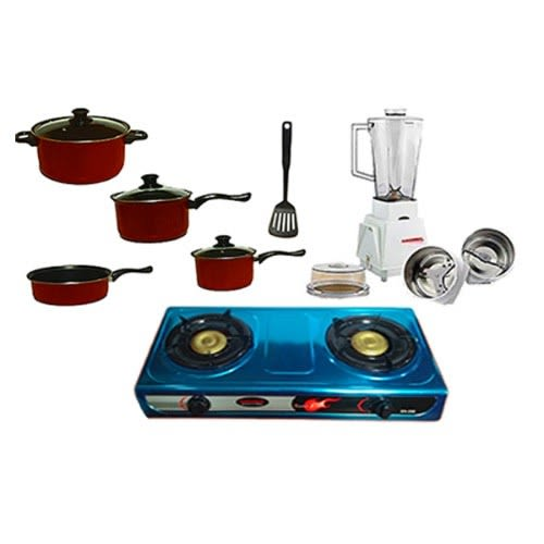 3pcs Nonstick-coated Cookware Set - Red With Table Top Gas Cooker And Blender.