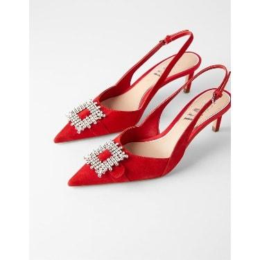 Zara Leather Mid-heel Slingback Shoe