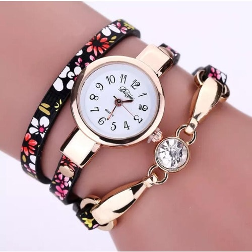 Women's Quartz Bracelet Wrist Watch With Stone-flower
