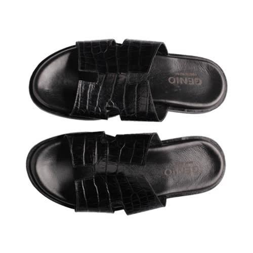 e262166fe Genio Black Croc Leather Slippers