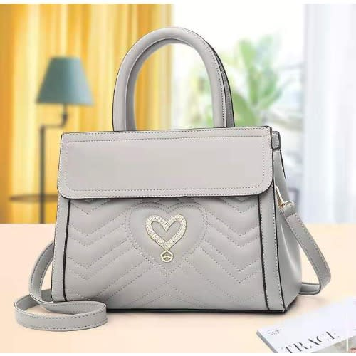 Front Love Leather Handbag - Grey.