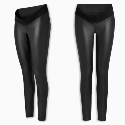 Coated Black Maternity Leggings