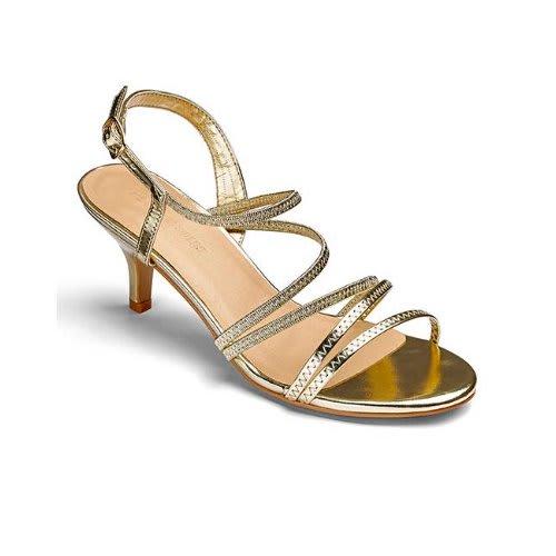 0bef1d41f45 Gold Strappy Kitten Heels Ladies Sandals