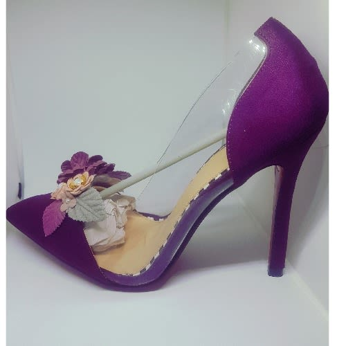 Floral Studded Suede Pointy Heel Pump - Purple