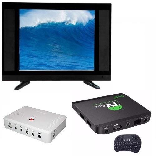 "24"" LED AC DC TV + Solar DC UPS + Android Smart TV Box"