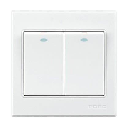 Light Switch - Poso Premium Brand Wall Light Switches - White, 2 Gang 1 Way