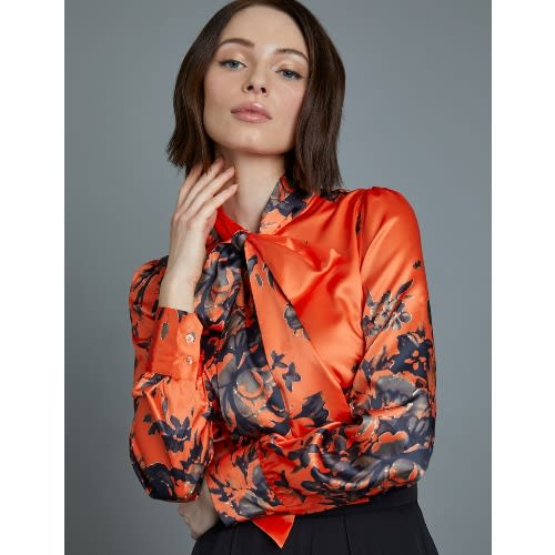 ba567420752e5 Hawes   Curtis Women s Orange   Black Floral Fitted Satin Shirt ...