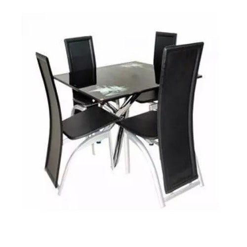low priced 13e67 2e934 Square Dining Table + 4 Chairs - Black